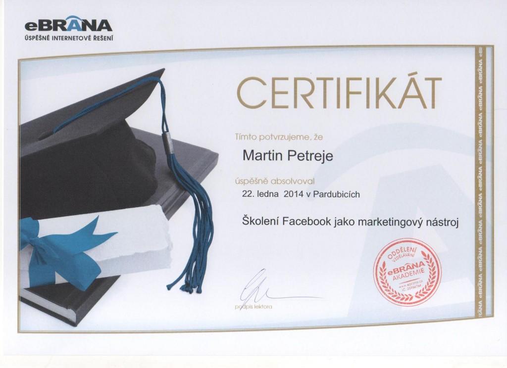 Certifikát Martin - Facebook