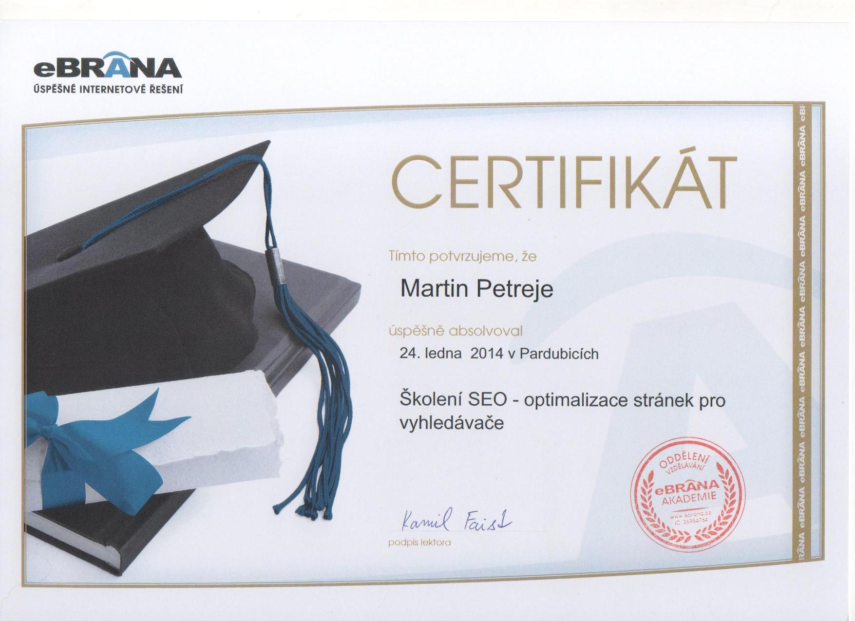 Certifikát Martin - Seo