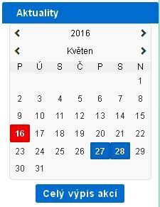 Nový modul  – Kalendář a  aktuality