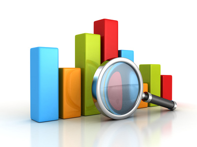 Business success bar graph with magnifying glass. 3d render illustration