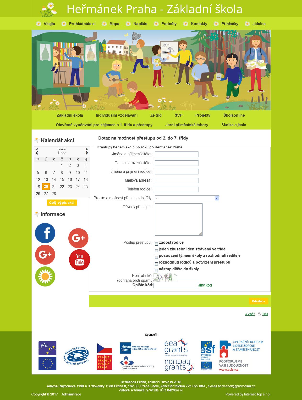 Nový modul do www – vytváření formulářů a přihlášek